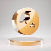 Globe Asia icon. Yellow Gold Globe Asia symbol on golden podium. 3D rendered Social Media Icon.