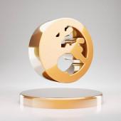 Globe Europe icon. Yellow Gold Globe Europe symbol on golden podium. 3D rendered Social Media Icon.