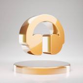Headphones icon. Yellow Gold Headphones symbol on golden podium. 3D rendered Social Media Icon.