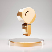 Map Pin icon. Yellow Gold Map Pin symbol on golden podium. 3D rendered Social Media Icon.