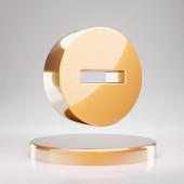 Minus Circle icon. Yellow Gold Minus Circle symbol on golden podium. 3D rendered Social Media Icon.