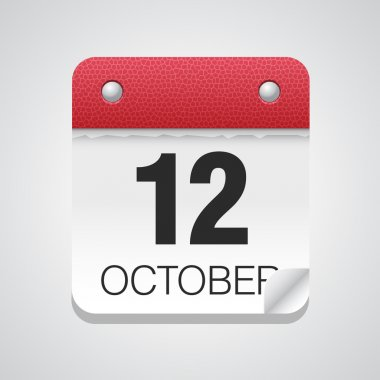 Simple calendar with October 12