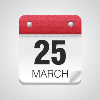 Simple calendar with March 25