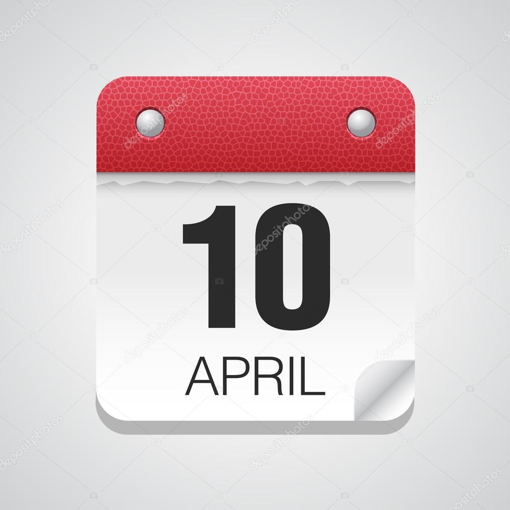 Icono De Calendario Con El 10 De Abril Vector De Stock 71507363