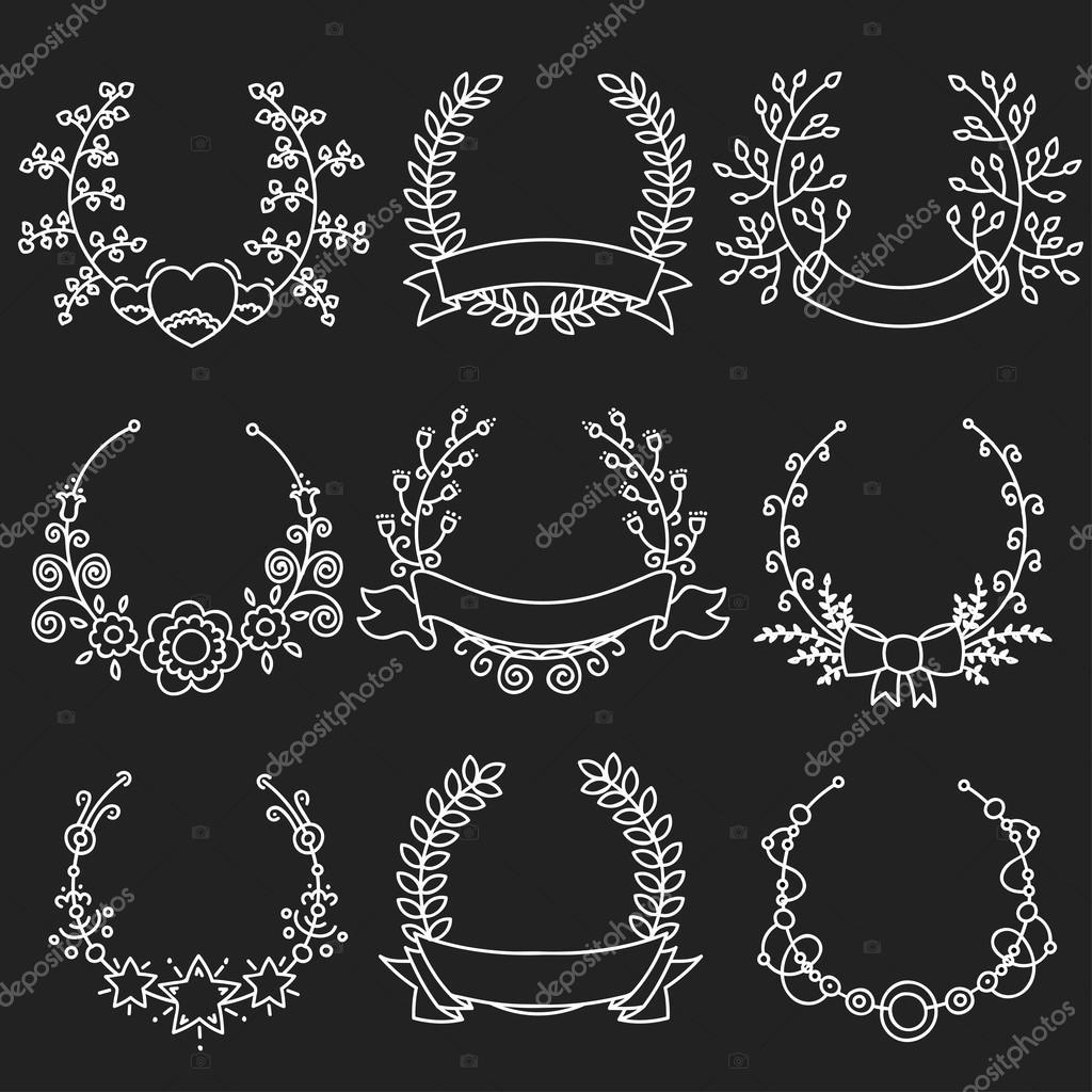 Calligraphy floral frames — stock vector whitebarbie