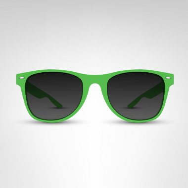 green sunglasses on white