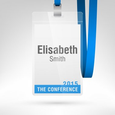 Conference badge Vertical layout.