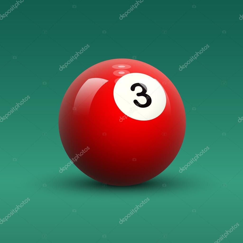 Boule de billard rouge avec chiffre 3 image vectorielle whitebarbie 79141078 - Arbuste avec boule rouge ...