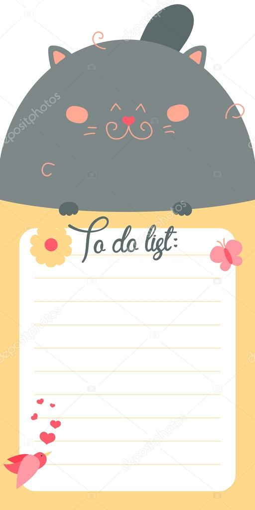 to do list with cute cat stock vector whitebarbie 80620034