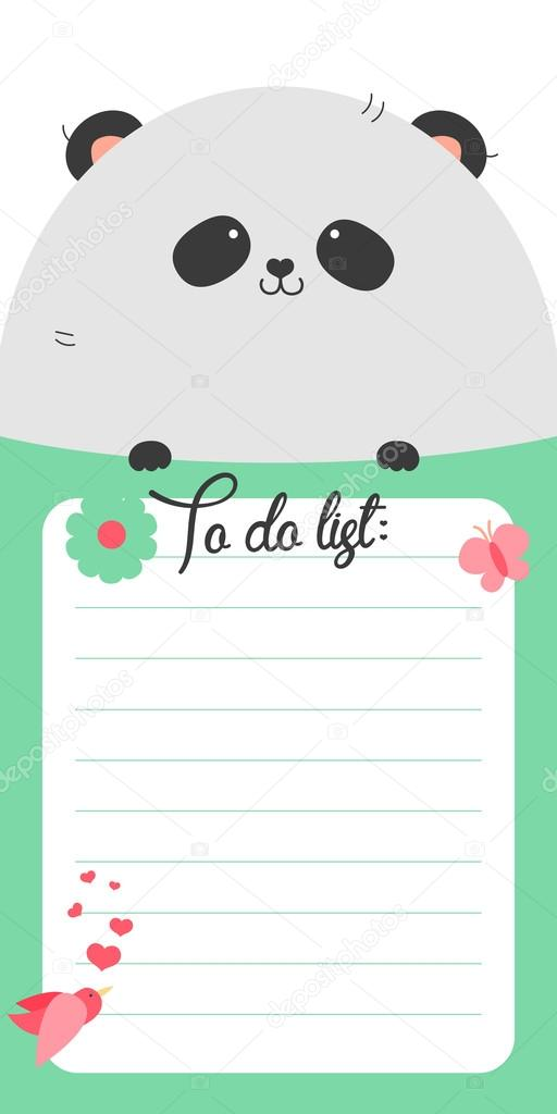 Fabuleux To do list with cute panda — Stock Vector © whitebarbie #80620094 MG97