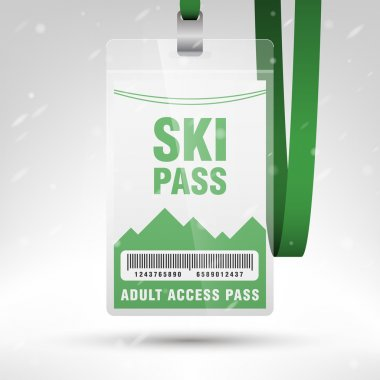 Ski pass vector illustration. Blank ski pass template with barcode in plastic holder with green lanyard. Vertical layout.
