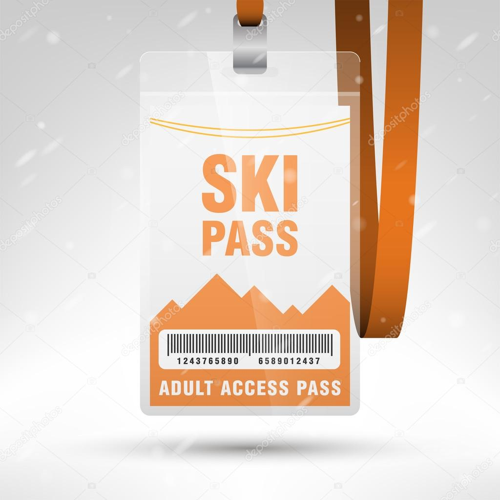 Ski Pass Vector Illustration Blank Ski Pass Template With Barcode