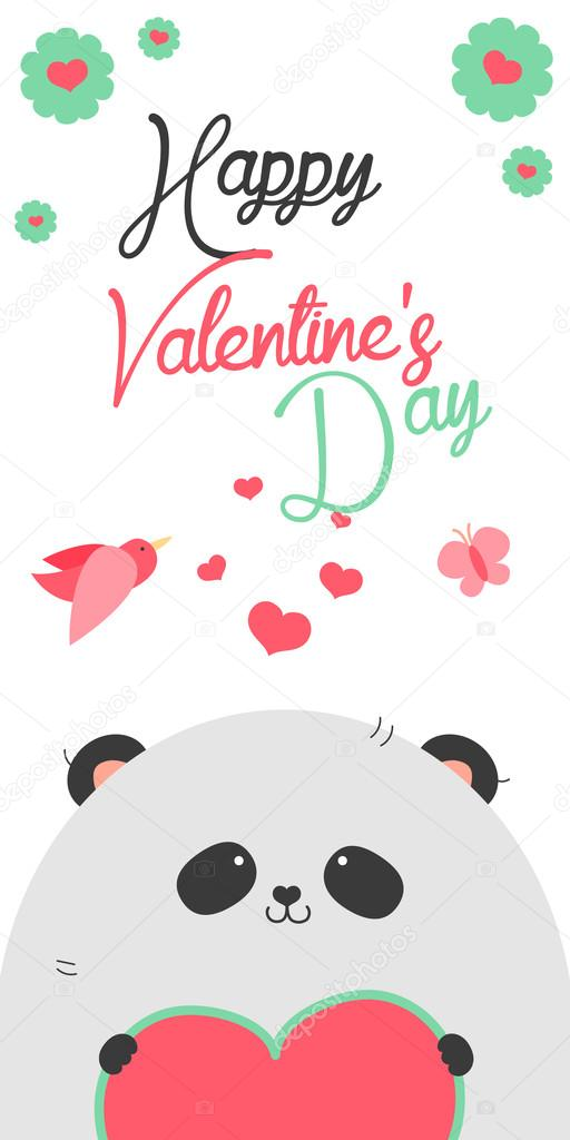 Happy Valentinstag Einladung Mit Niedlichen Panda Stockvektor