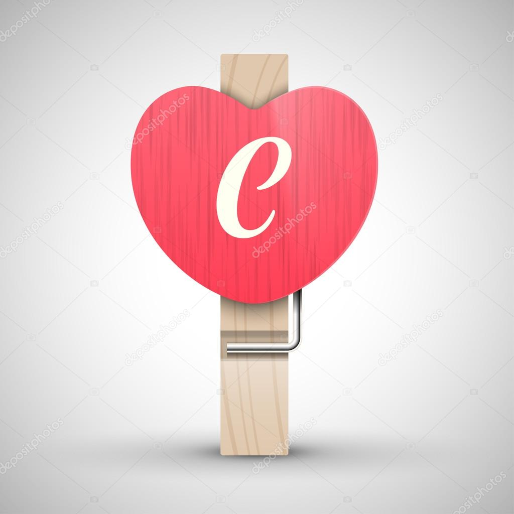 dd1ec364a Clothes heart pin with letter C — Stock Vector © whitebarbie  97479812