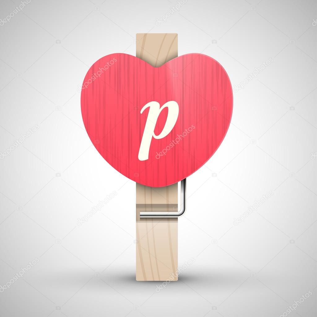 Clothes Wooden Heart Pin With Lowercase Letter P Vector Illustration Decorative Best For Valentines Day Alphabet