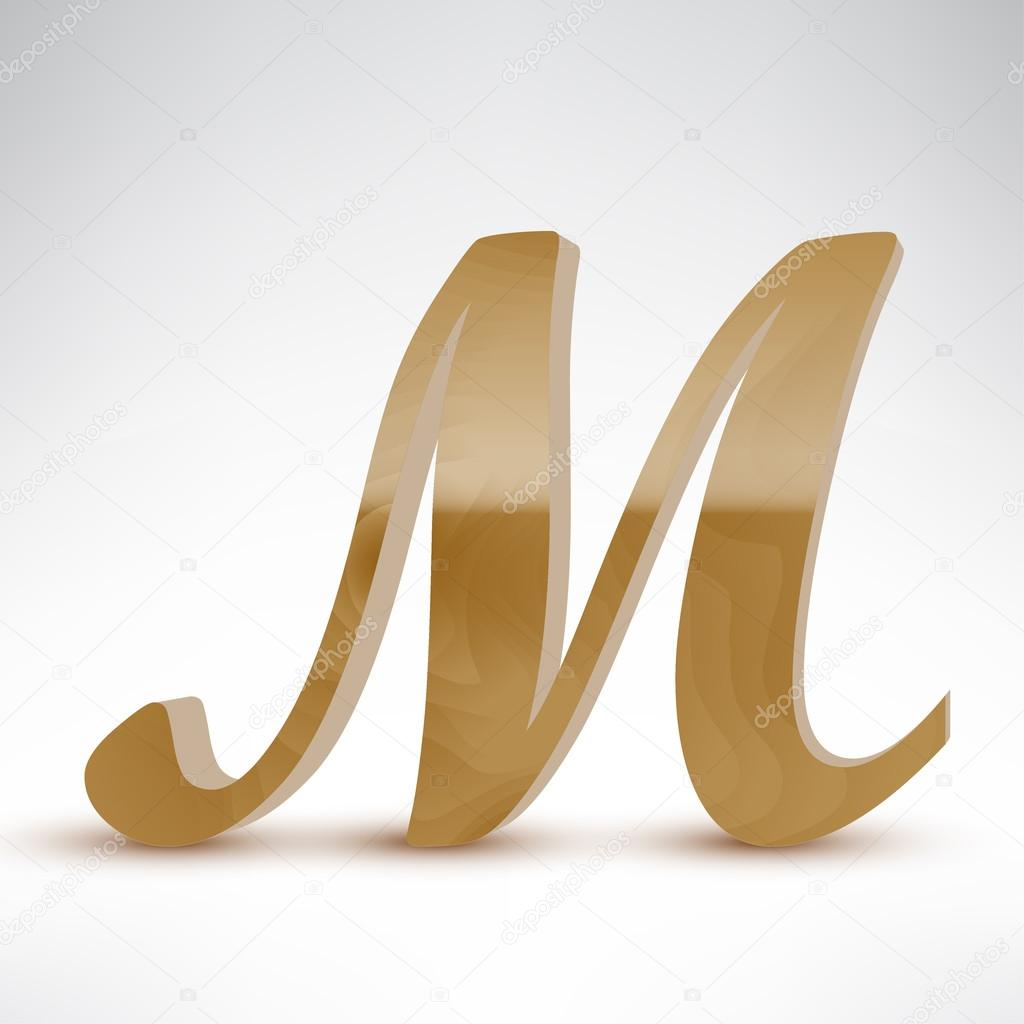 wooden letter m stock vector