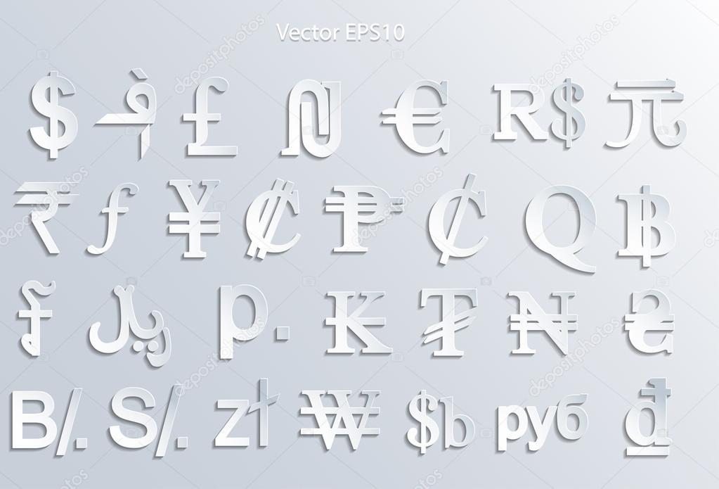 Currency Symbols Set Stock Vector Gordanas 64749869