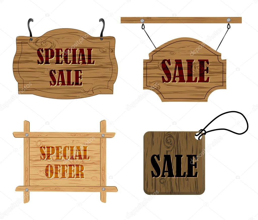 accrocher les panneaux en bois vente — image vectorielle gordanas