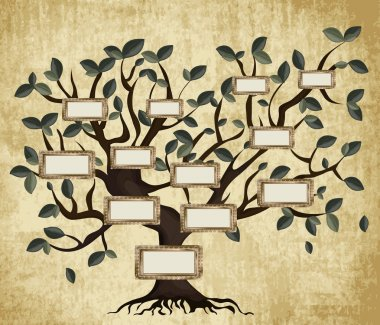 Illustration of family tree on aged paper