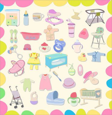 Set of baby items