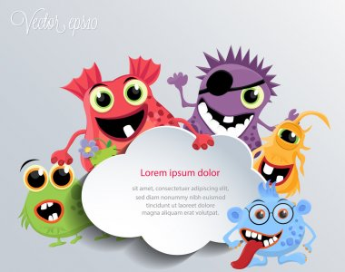 Cute monsters with a speech cloud