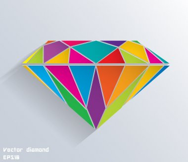 Abstract colored paper diamond shape