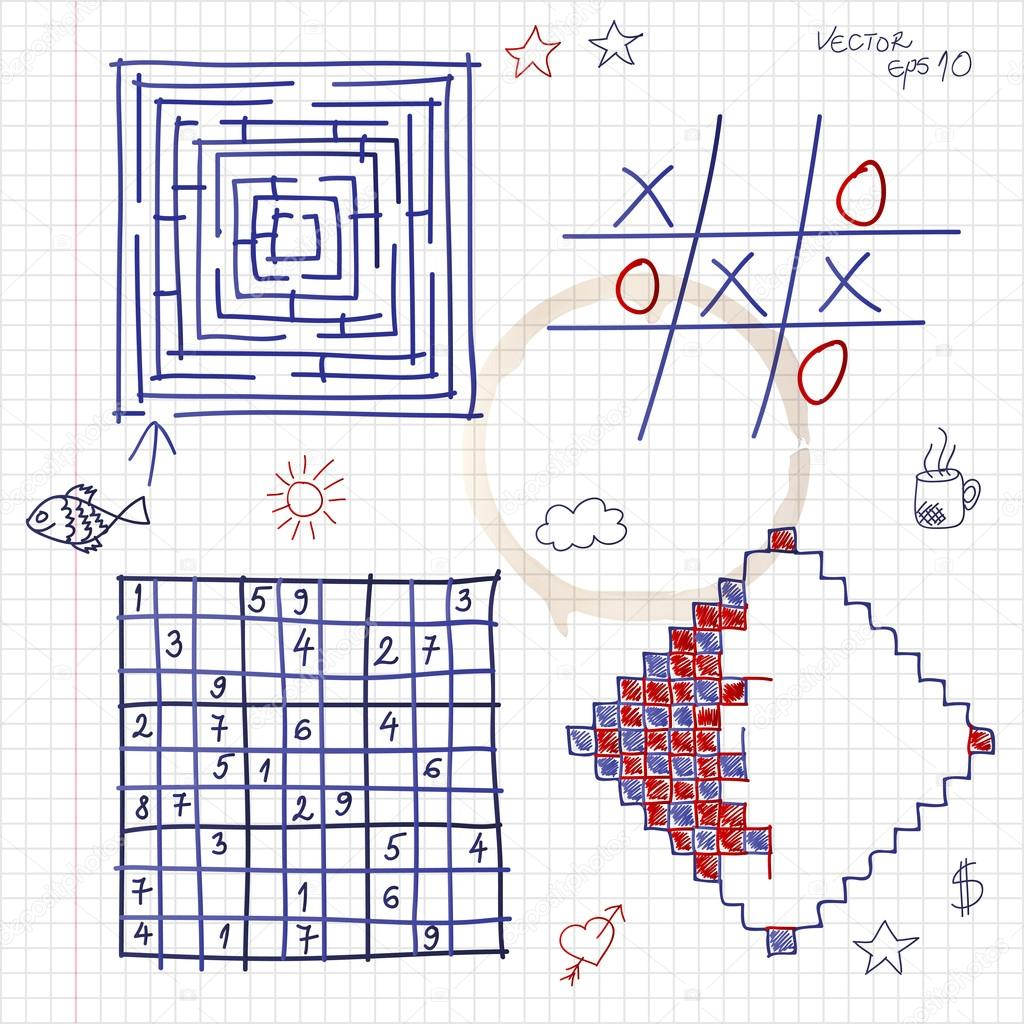 Hand drawn games in notepad — Stock Vector © gordanas #70090999