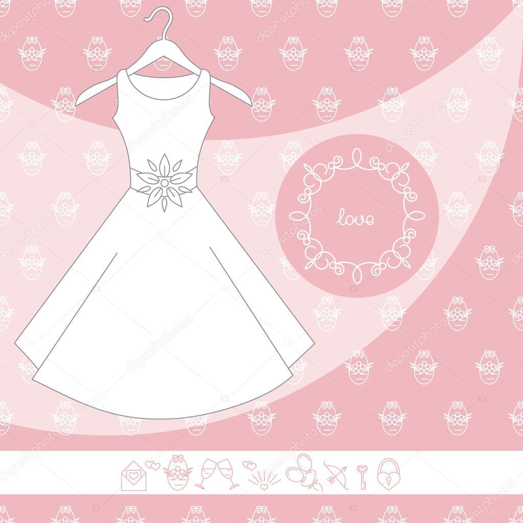 Los iconos y el vestido de novia — Vector de stock © Yulia337 #104248154