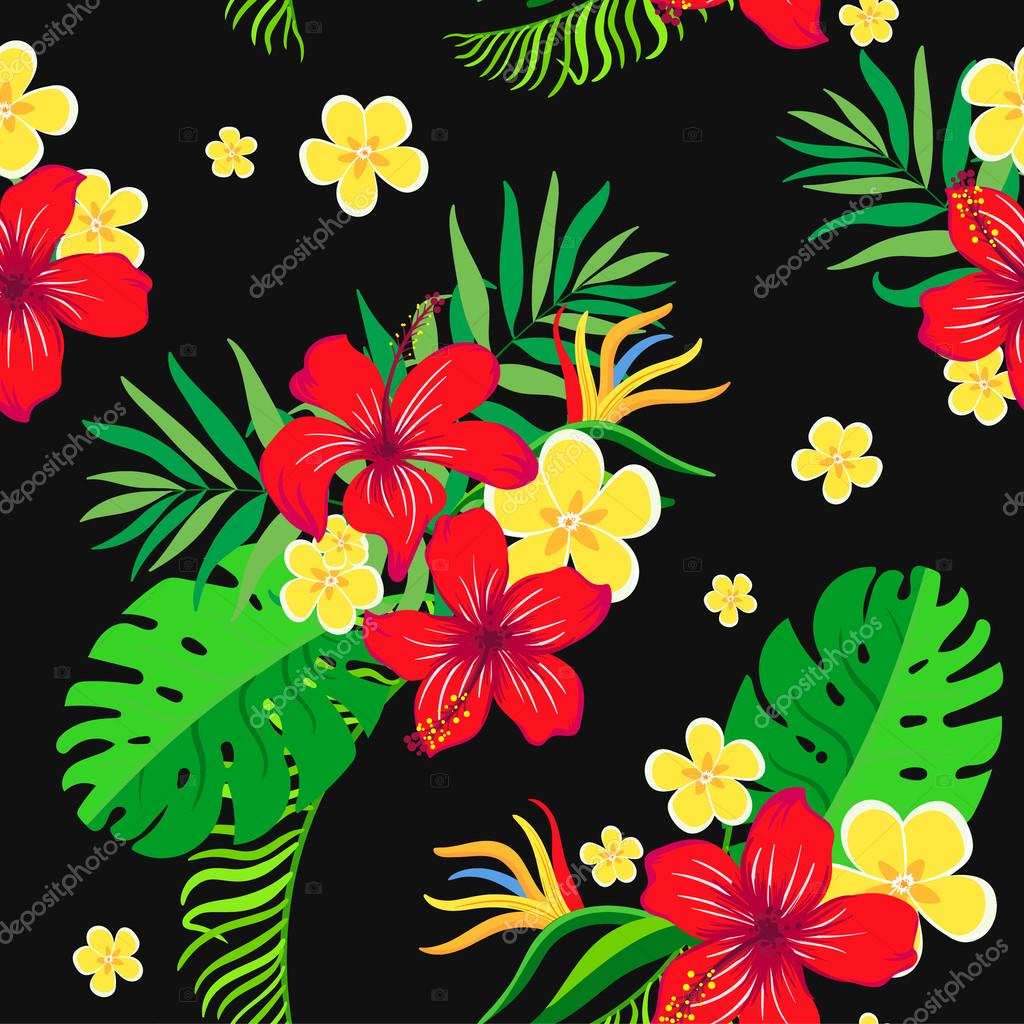 Seamless background with exotic flowers on  black background.
