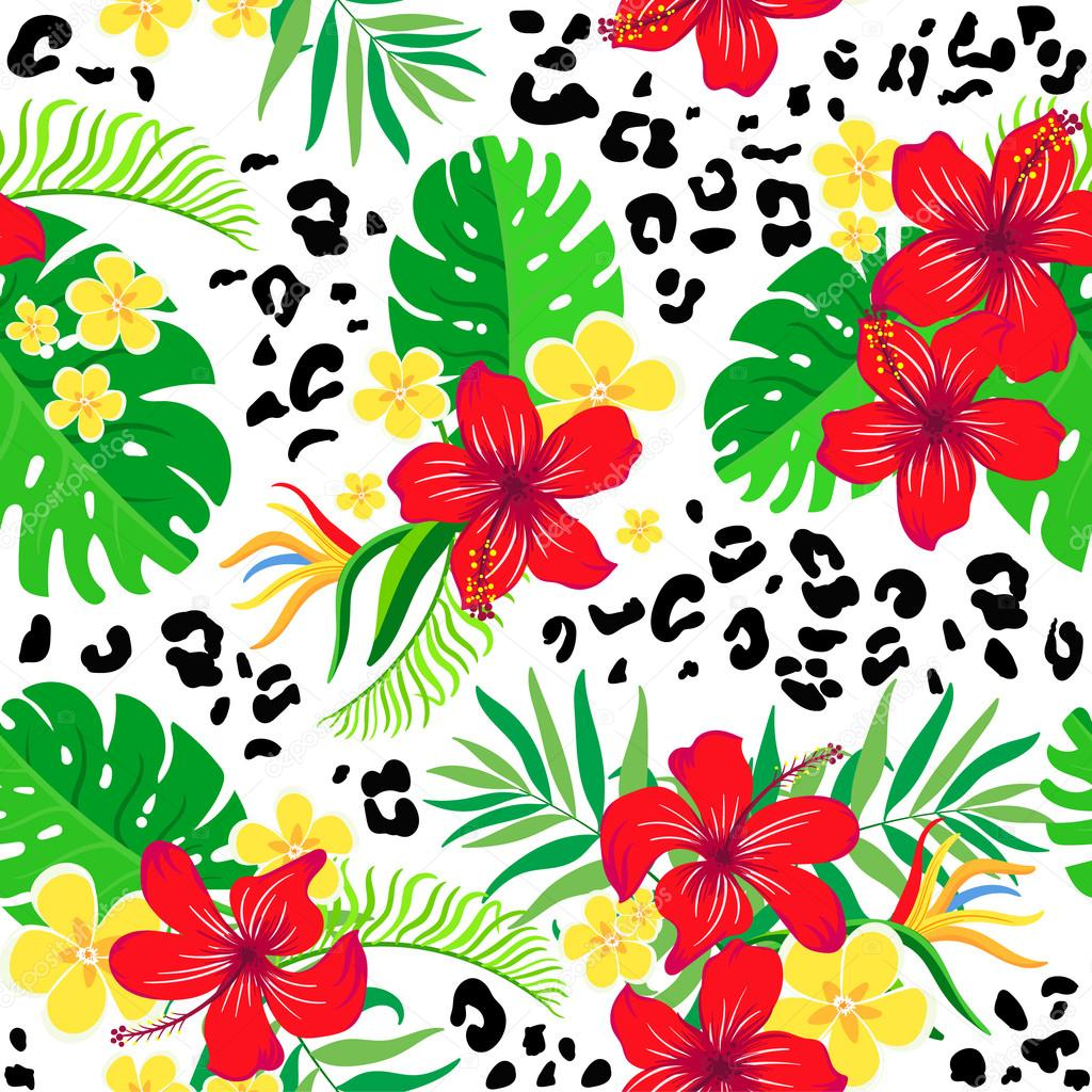 Tropical seamless background.