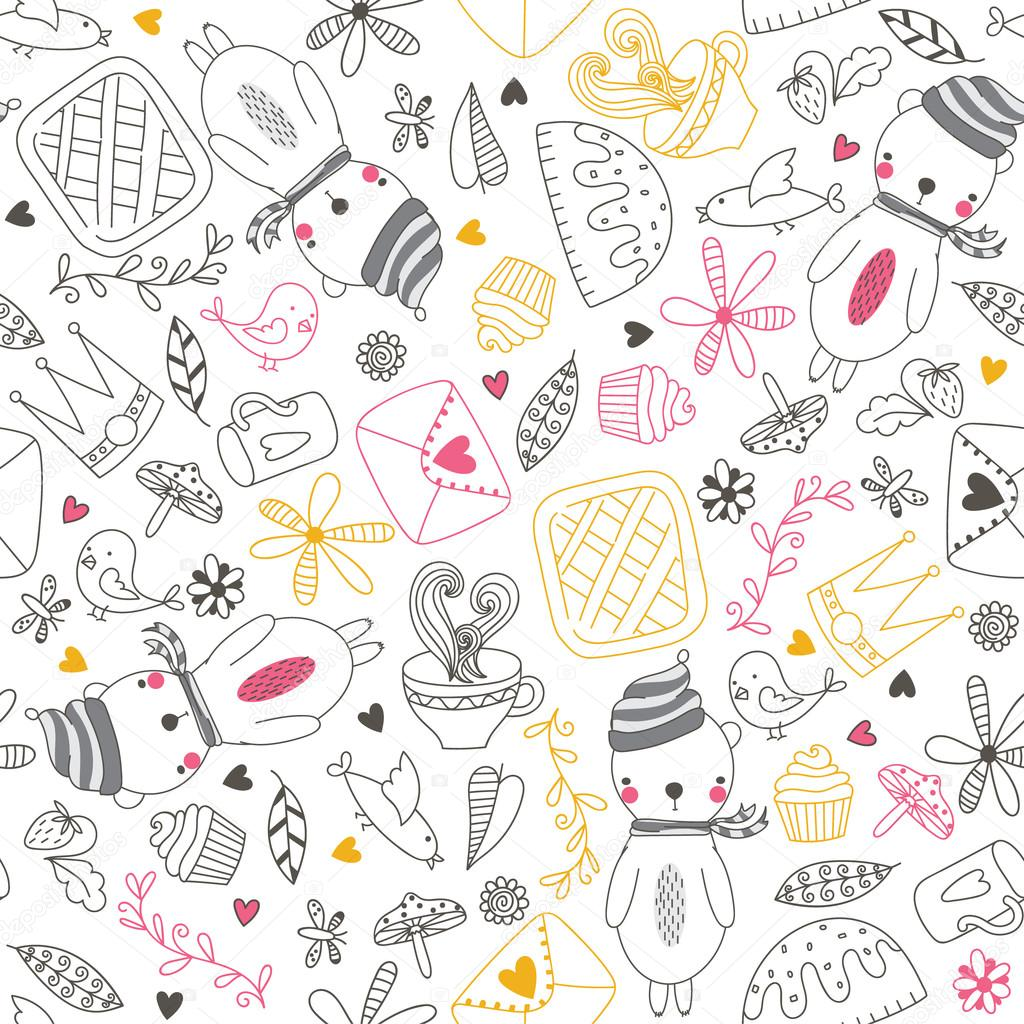 Cheerful Seamless Pattern With Bear Bird Tea Cake And Other Cute ThingsSeamless Can Be Used For Wallpapers Fills Web Page Backgrounds