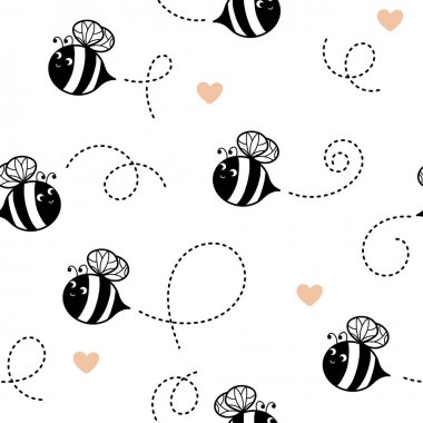 Seamless pattern with cute flying bees and hearts on white. Vector illustration for children. icon