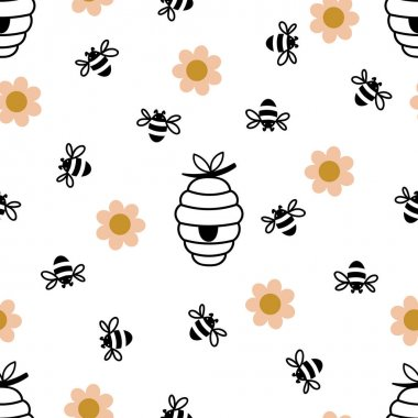 Seamless pattern with bees, daisies and hives. Cute hand drawn sweet natural honey background templates. Vector illustration. icon