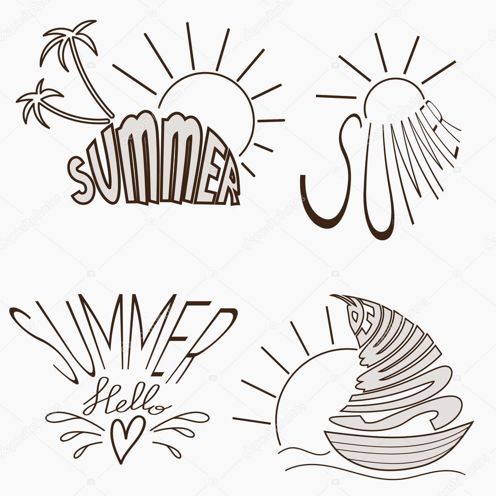 Summer logotypes set.
