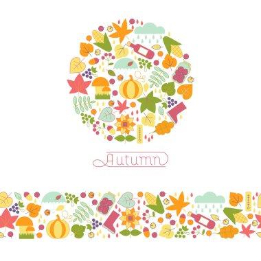 Emblem of autumn, and horizontal seamless pattern.