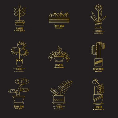 Collection of labels with house plants