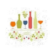 Vinné sklenice a láhve symbol