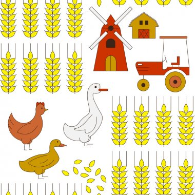 Seamless background with elements of farming.