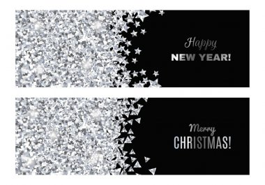 Set of festive horizontal banners.