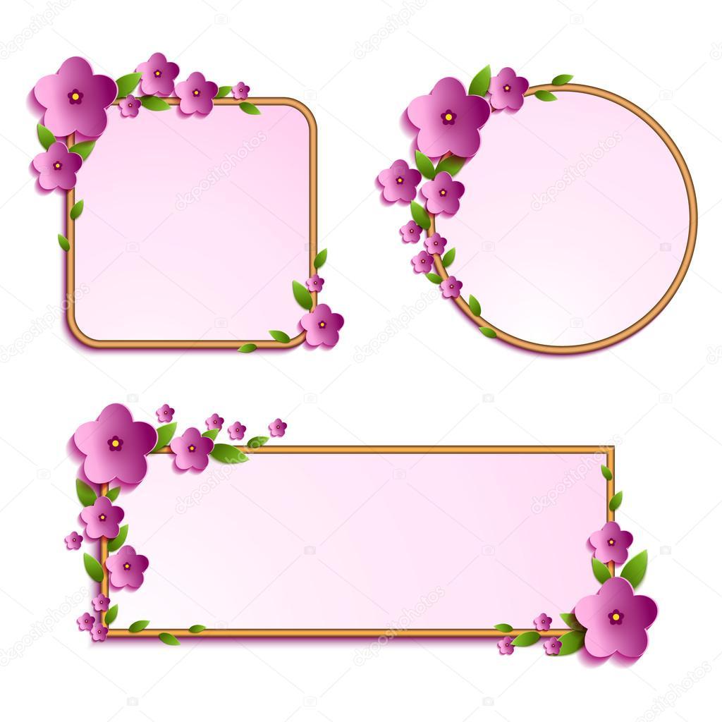 conjunto de Marcos flores — Vector de stock © Yulia337 #99072048