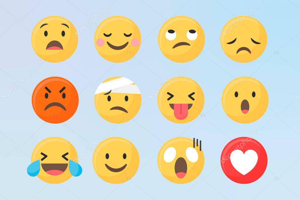 Social media emoticons vector set icon