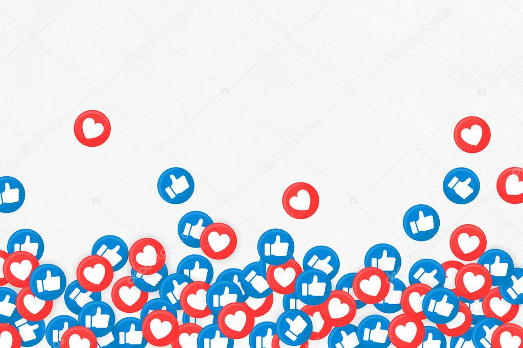 Social media thumbs up and heart icons border on white background vector icon