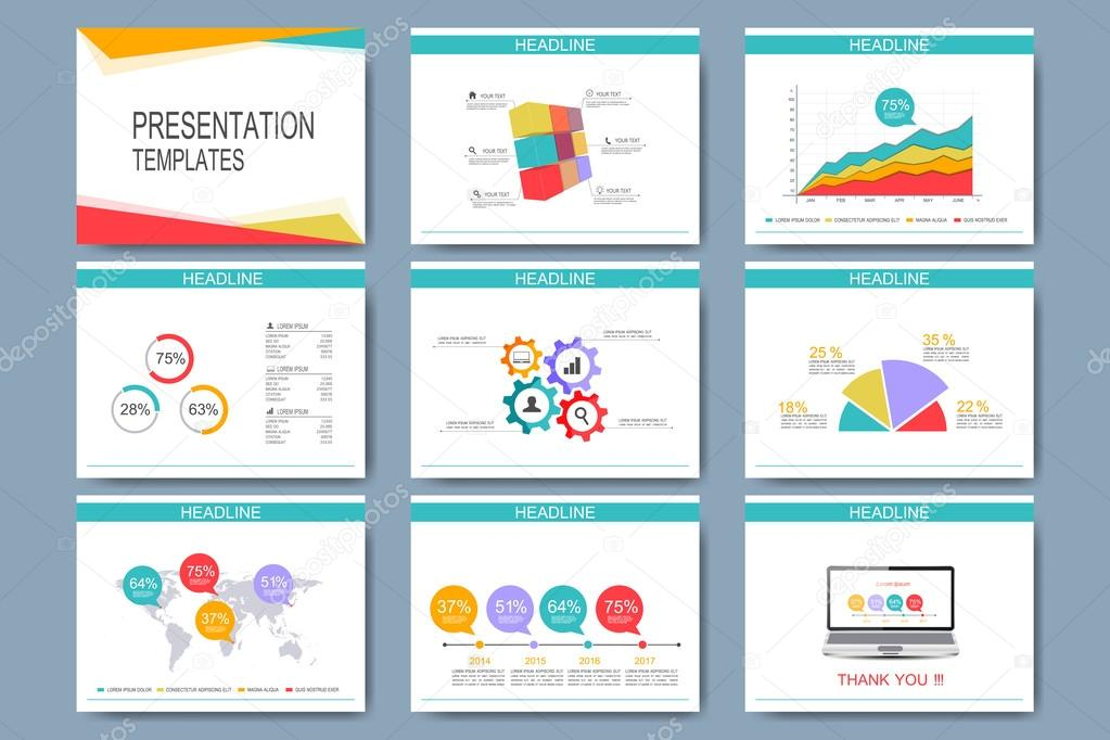 Colorful Set Of Vector Templates For Multipurpose Presentation