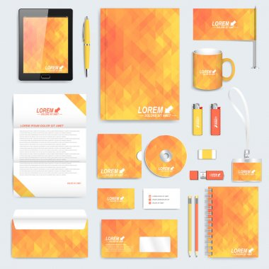 Yellow set of vector corporate identity template. Modern stationery mock-up. Background with  yellow triangles. Business, science, medicine and technology design