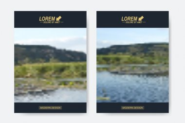 Modern vector templates for brochure, Leaflet, flyer, cover, magazine or annual report in A4 size. Business design book layout. Abstract presentation with blur background