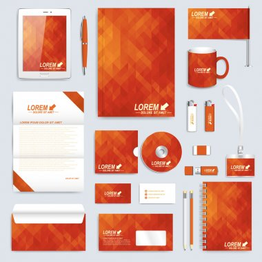 Red set layout of vector corporate identity template. Business, science, medicine and technology design stationery mock-up. Background with triangles. Abstract branding presentation leaflet