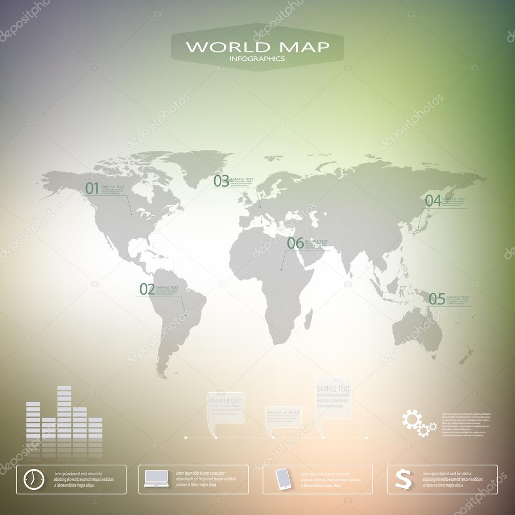 World map vector infographic template with blurred background can world map vector infographic template with blurred background can be used for workflow layout presentation web design vector by berya113 gumiabroncs Choice Image