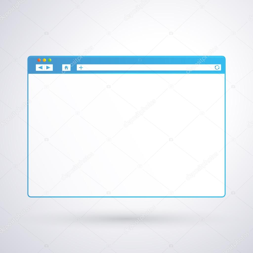 opened browser window template on light background for your design