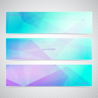 Colorful Horizontal Set Of Banners With Multicolored Polygonal Mosaic Backgrounds. Modern Vector Illustration