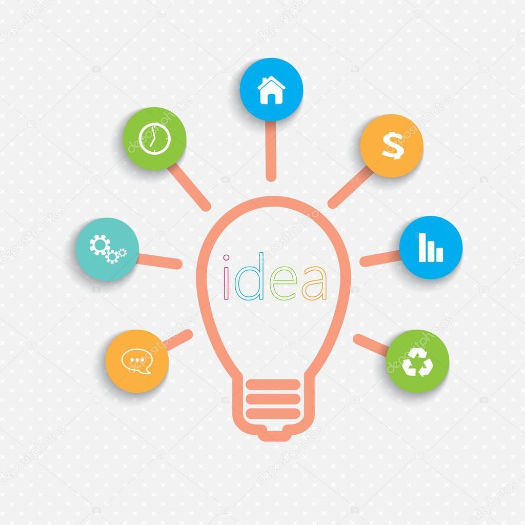 Infografía moderna plantilla de red Idea bombilla con lugar para el ...